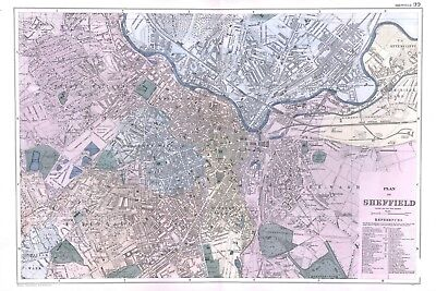 1902 Antique Vintage Sheffield street plan map