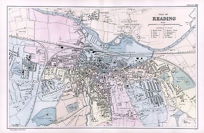 1902 Antique Vintage Reading street plan map