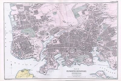 1902 Antique Vintage Plymouth and Devonport street plan map