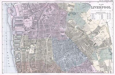1902 Antique Vintage Liverpool North street plan map