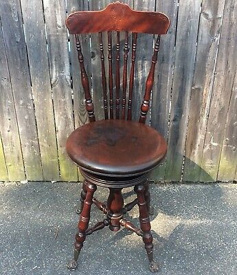 Antique Piano Chair with Glass Ball and Claw Feet Victorian 19th Century