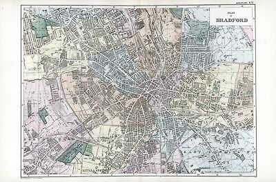 1902 Antique Vintage Bradford street plan map