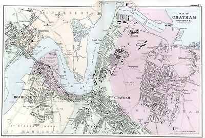 1902 Antique Vintage Chatham and Rochester street plan map