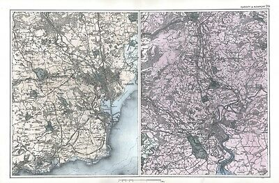 1902 Antique Vintage areas around Cardiff and Newport maps
