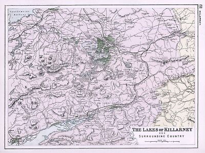 1902 Antique Vintage map of the Lakes of Killarney
