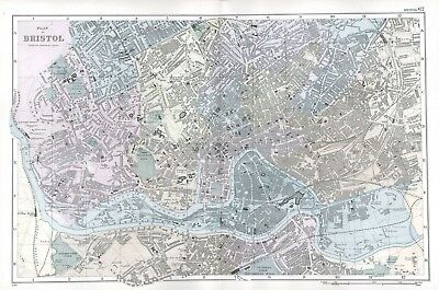 1902 Antique Vintage Bristol street plan map
