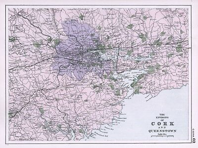 1902 Antique Vintage map of the environs of Cork