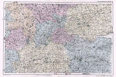 1902 Antique Vintage map of the environs of London