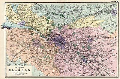 1902 Antique Vintage map of the Environs of Glasgow