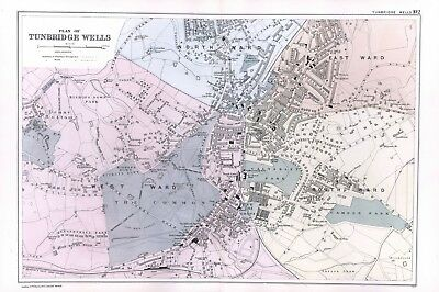 1902 Antique Vintage Tunbridge Wells street plan map