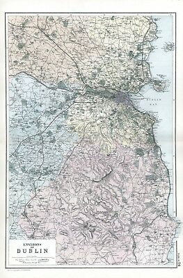 1902 Antique Vintage map of the environs of Dublin