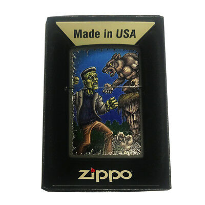 Zippo Custom Lighter - Frankenstein Fighting Werewolf Halloween Epic Battle Scen