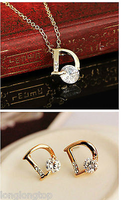 POPULAR GOLD LOOK PENDANT NECKLACE AND STUD EARRINGS SET D diamante NEW