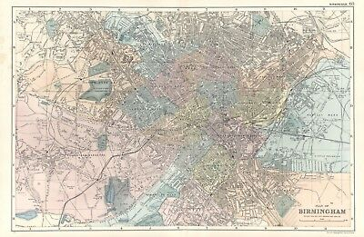 1902 Antique Vintage Birmingham street plan map
