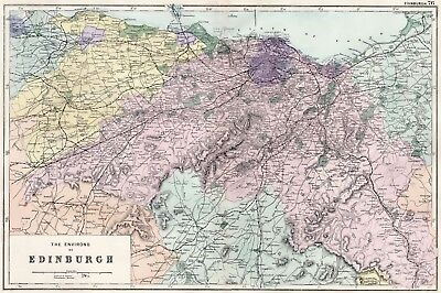 1902 Antique Vintage map of the Environs of Edinburgh