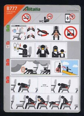 ALITALIA 777 Airline SAFETY CARD 07/2017 emergency instruction brochure sc960 aa
