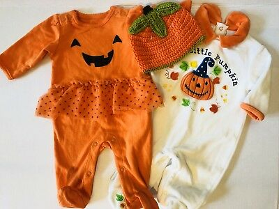 NEW BABY INFANT GIRL 3 M OUTFITS JACK-O-LANTERN TUTU PUMPKIN HAT 1st HALLOWEEN!