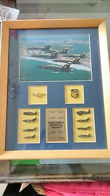 Blue Angels Historical Aircraft 10 Hat Lapel Pin Set in frame
