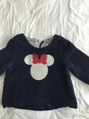 Baby Gap Toddler Girl Disney Minnie Mouse Sherpa Sweatshirt Cotton Lined Size 3T