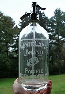 Rare MONTE CARLO BRAND ~ LOS ANGELES CALIFORNIA ETCHED WESTERN SELTZER BOTTLE