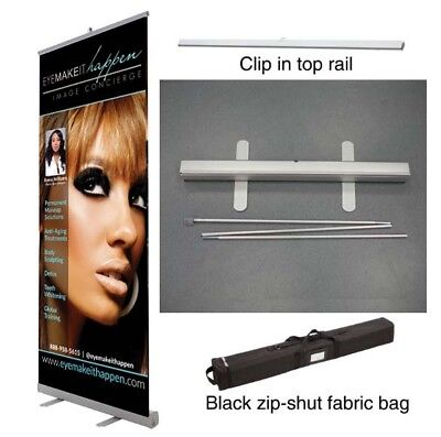 33x80 Retractable Roll Pop Up Banner Stand  Sign Display -  Free Print
