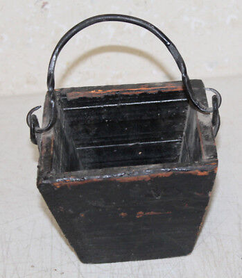 Antique Style Wooden Rice Measure Box Bucket Painted Wrought Iron Handle Farm