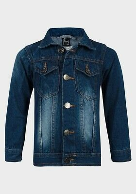Girls Denim Jacket Kids EX STORE Buttoned Coat All Seasons Age 1-12 Years New