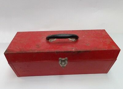 Old Vintage Red Metal Tool Box - Rat Rod Style Faded Patina