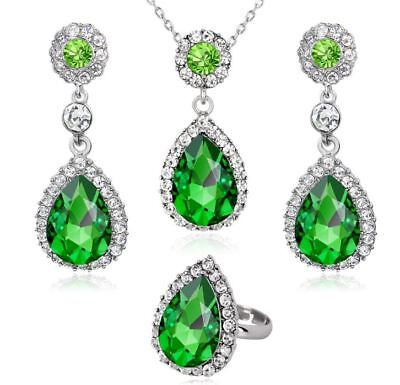 Silver Tone Green Tear drop Rhinestone Necklace, Earrings And Ring Set