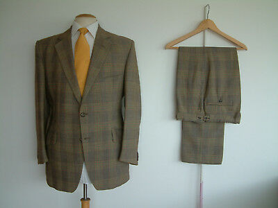 """VINTAGE MADE TO MEASURE SUIT..40"""" x 34""""..LIME / PEACH CHECK..STRIKING..CHAP"""