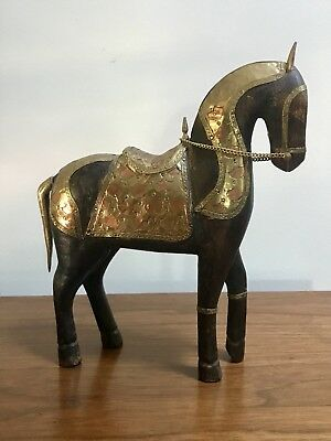 Large Vintage Wood Copper Brass Horse Figure Medieval Sculpture Hand carved