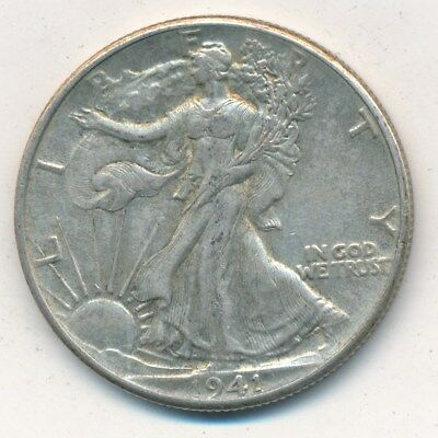 1941 Walking Liberty Silver Half Dollar-Nice Gently Circulated-Ships Free! Inv:3
