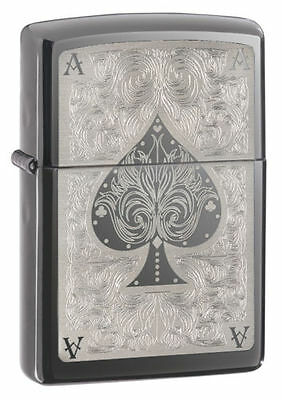 "Zippo ""Ace of Spades"" Black Ice Chrome Finish Full Size Lighter, 28323"