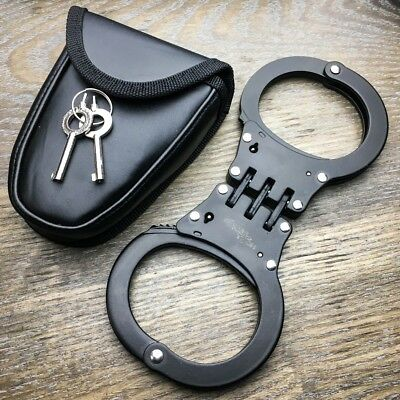 Professional Double Lock Black Steel Hinged Police Handcuffs w/ Keys + CASE NEW