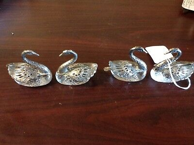 Vintage Silver And Crystal Swan Salt Cellar With Spoon. Set Of 4.