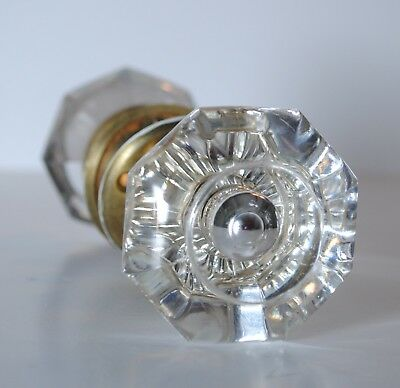 VINTAGE SET 8 POINT CRYSTAL CLEAR GLASS BRASS DOOR KNOB HANDLES with SPINDLE