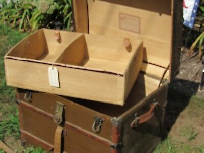 """Antique Vintage Steamer Trunk Wood fabric leather original condition 24"""""""