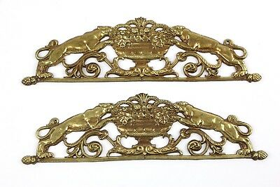 "Vintage Set of 2 Ornamental Over Door Ornate brass pediments 9"" Jaguar Tiger"