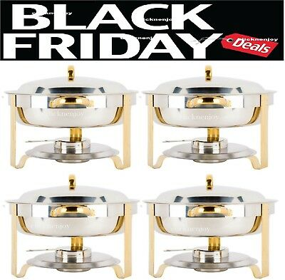 4 PACK Deluxe 4 Qt Gold Stainless Steel Chafer Chafing Dish Set Full Size