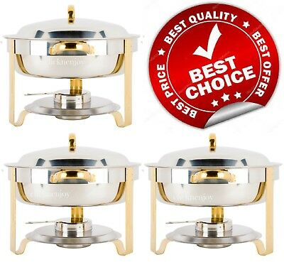 3 PACK Deluxe 4 Qt Gold Stainless Steel Chafer Chafing Dish Set Full Size