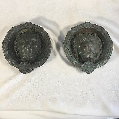 Door Knockers Lions Head Huge Bronze Heavy Antique Over 9lbs Each Gothic