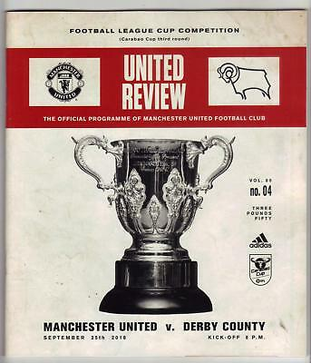 2018/19   Manchester United   v   Derby County   League Cup    Programme   MINT