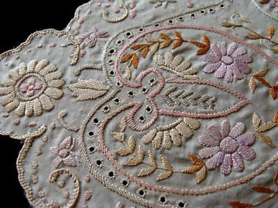 SUPERB Antique Hand Embroidered Silk Hanky INCREDIBLE Hand Embroidery PRISTINE
