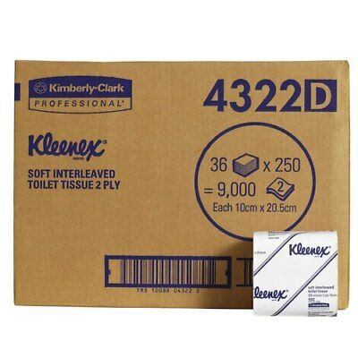Kleenex Interleaved Toilet Tissue 2 Ply 36 Packs x 250 Sheets (4322)