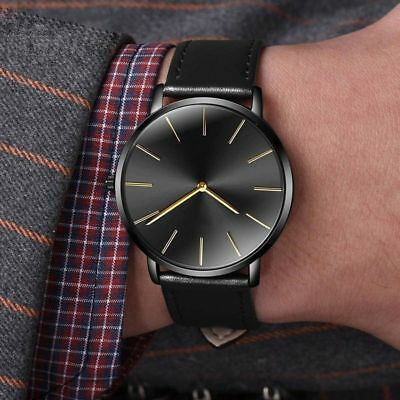 Unisex Ultra Thin Watches Luxury Leather Casual Quartz Watch 6.5mm 5 Colors Gift