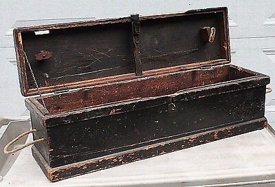 Antique Primitive Wood Old Wooden Carpenter Tool Box Case Trunk Barn Storage 33""