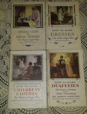 VINTAGE 1930 SINGER SEWING LIBRARY SET OF 4 BOOKS How To Original
