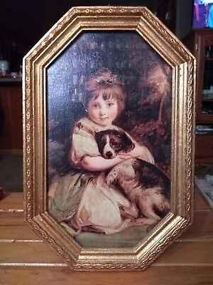 Dog Lovers Vintage Framed w Glass Art Print Young Victorian Girl Child w Spaniel