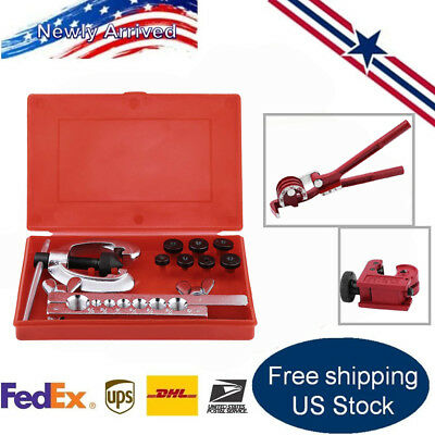 Tubing Bender Cutter Double Flaring Tool Kit 3 Way Brake Line Plumbing Repair OY
