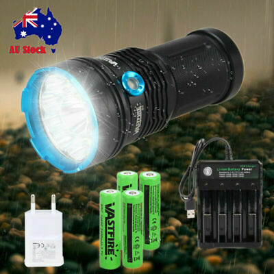 Powerful 50000LM 12 XM-L T6 LED Flashlight Torch Hunting Camping Light 4X18650